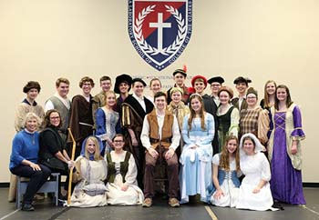 "School of the Ozarks sophomores in costume for Shakespeare's ""Romeo and Juliet"""