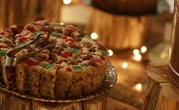C of O Fruitcake in a holiday setting