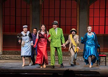 "The cast of ""Clue the Musical"" perform in the Jones Auditorium at College of the Ozarks."